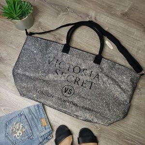 Victoria's secret NWT tote glitter silver black